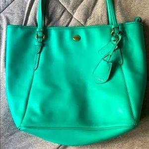 Coach Saffiano Leather Shoulder Bag Green F27349